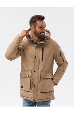 Мужская зимняя куртка C517 - бежевый - Ombre