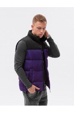 Мужская стеганая безрукавка V36 - фиолетовый - Ombre