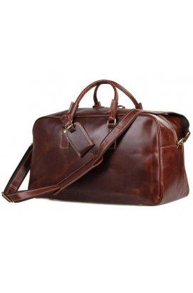Большая удобная кожаная дорожная сумка, английский стиль 7156LB Коричневый