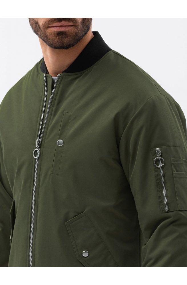 Мужская повседневная куртка C516 - оливковый - Ombre