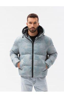 Мужская зимняя куртка C529 - светло-синий - Ombre