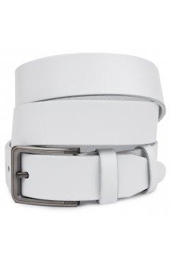Гладкий стильный мужской ремень Vintage 20718 Белый