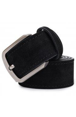Кожаный замшевый ремень унисекс Vintage 20727 Черный