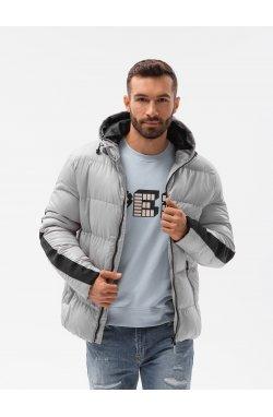 Мужская зимняя куртка C503 - светло-серый - Ombre