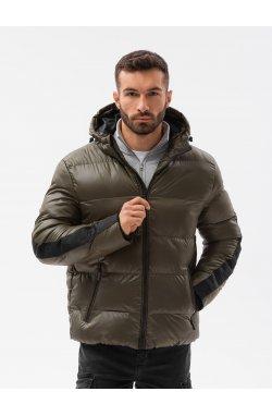 Мужская зимняя куртка C503 - оливковый - Ombre
