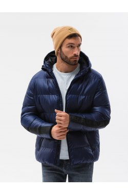 Мужская зимняя куртка C503 - темно-синий - Ombre
