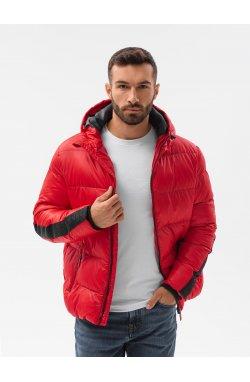 Мужская зимняя куртка C503 - красный - Ombre