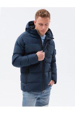 Мужская зимняя куртка C502 - темно-синий - Ombre