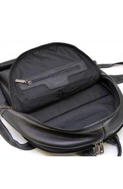 Кожаный мужcкой городской рюкзак TARWA FAw-7273-3md на белой нитке Черный