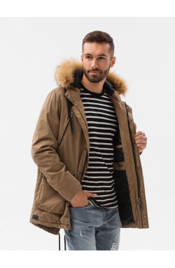Мужская зимняя куртка C512 - бежевый - Ombre