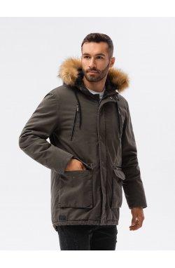 Мужская зимняя куртка C512 - оливковый - Ombre