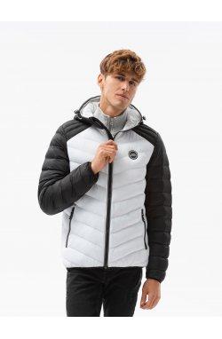 Мужская куртка демисезонная стеганая C366 - белый - Ombre
