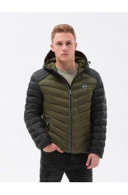 Мужская куртка демисезонная стеганая C366 - оливковый - Ombre