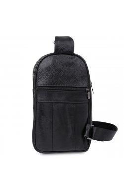 Компактная кожаная мужская сумка через плечо Vintage 20000 Черный