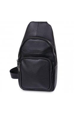 Небольшая кожаная мужская сумка через плечо Vintage 20202 Черный