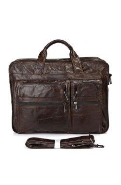 Большая кожаная сумка для документов или ноутбука 7093Q от John McDee Коричневый