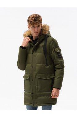 Мужская зимняя куртка C514 - оливковый - Ombre