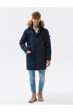 Мужская зимняя куртка C514 - темно-синий - Ombre