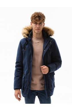 Мужская зимняя куртка C512 - темно-синий - Ombre