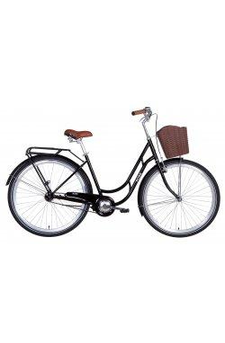 """Городской Велосипед Велосипед в коробке 28"""" Dorozhnik ROSE тормозная рама-19"""" ST черный с багажником зад St, с крылом St, с корз"""