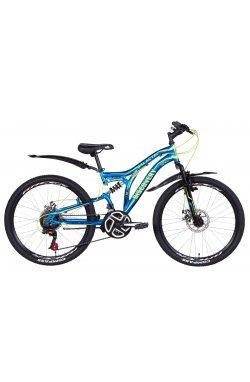"""Горный Велосипед Велосипед в коробке 24"""" Discovery GALACTIK AM2 DD ST с крылом Pl 2021 (синий с желтым)"""
