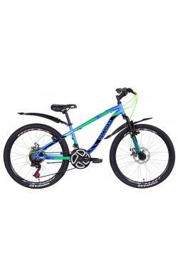 """Горный Велосипед Велосипед в коробке 24"""" Discovery FLIPPER AM DD ST с крылом Pl 2021 (сине-зеленый с черным (м))"""