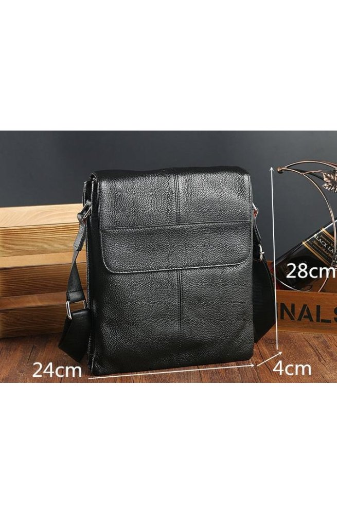 Мессенджер Tiding Bag A25-064A - Натуральна шкіра, чорний
