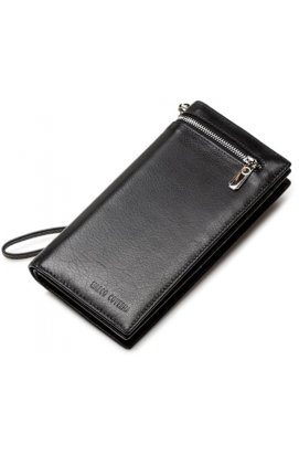 Кожаный клатч HORTON TR0993 - Натуральная кожа, чёрный