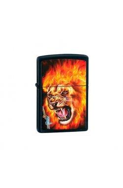 Зажигалка Zippo Mazzi Flame Lion Black Matte Zp28003