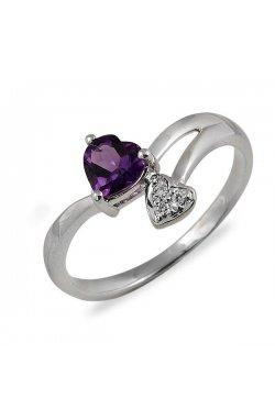 Кольцо из белого золота с аметистом и бриллиантами
