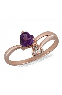 Кольцо из красного золота с аметистом и бриллиантами