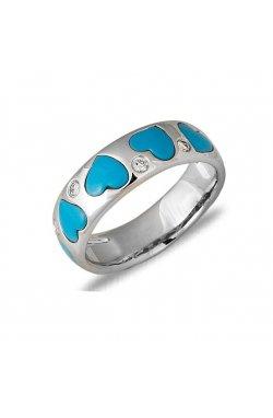 Кольцо из белого золота с бирюзой и бриллиантами