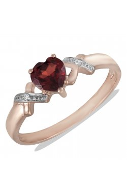 Кольцо из красного золота с бриллиантами и гранатом