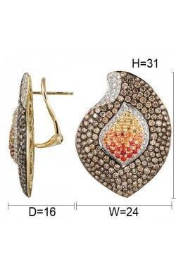 Серьги из желтого золота с бриллиантами и сапфирами (046665)