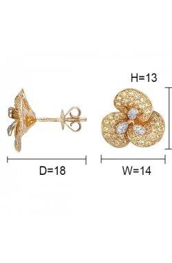 Серьги из желтого золота с сапфирами (055978)