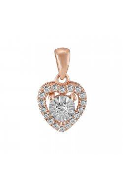 Кулон из красного золота с бриллиантами (210760)