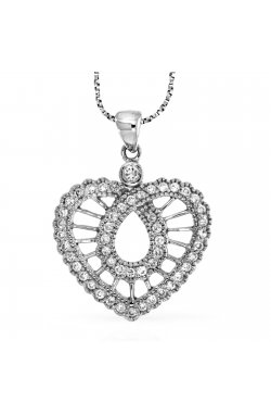 Кулон из белого золота с бриллиантами (816735)