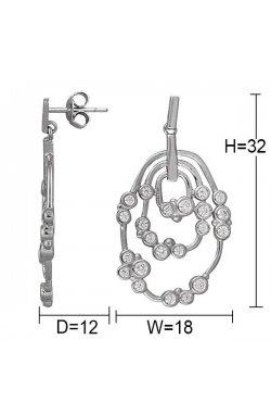 Серьги из серебра с куб. циркониями (073504)