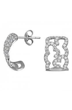 Серьги из серебра с куб. циркониями (073505)