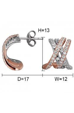 Серьги из серебра с куб. циркониями (073514)