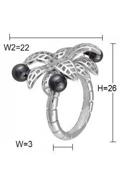 Кольцо из серебра с жемчугом (искусст.)