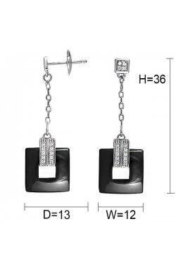 Серьги из серебра с куб. циркониями (078179)