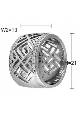 Кольцо из серебра с куб. циркониями