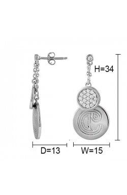 Серьги из серебра с куб. циркониями (125490)