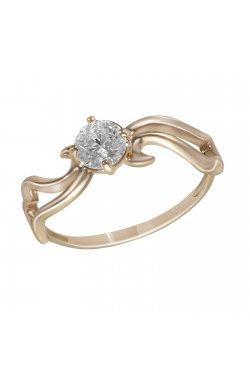 Кольцо из красного золота с куб. цирконием