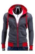 Men's zip-up hoodie AMIGO - dark grey/красный