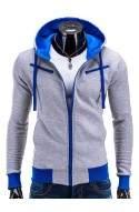 Men's zip-up hoodie AMIGO - Серый/голубой